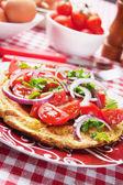 Omelett mit tomaten-salat — Stockfoto