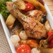 Roasted chicken leg — Stock fotografie