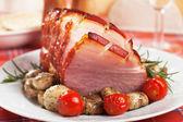 Roasted christmas ham — Stock Photo