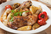 Roasted chicken leg — Stock Photo