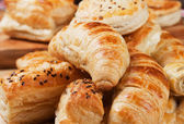 Croissant and other puff pastry — Stock Photo