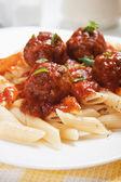 Macaroni pasta with meatballs — Stock Photo