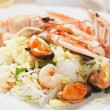 Shrimps and seafood risotto — Stock Photo