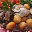 Roasted potato croquettes with portabello mushrooms — Stock Photo #39268507