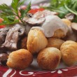 Roasted potato croquettes with portabello mushrooms — Stock Photo #39271745
