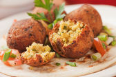 Falafel, deep fried chickpea balls on pita bread — Stock Photo