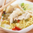 Chinese dumpling and noodle soup — Stock Photo