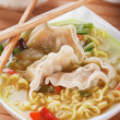 Stock Photo: Chinese dumpling and noodle soup