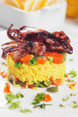 Fried squid and risotto — Stock Photo