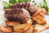 Kebab, minced meat skewer — Stock Photo