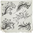 Hand Draw Floral Elements - Vettoriali Stock 