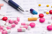 Medical form with pills — Foto Stock