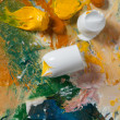 Palette with paint strokes — Stockfoto