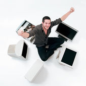 Happy electronic craftman — Stock Photo