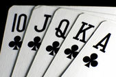 Royal flush of clubs — Stock Photo