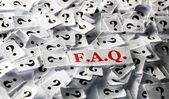 FAQ question marks  — Foto Stock