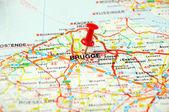 Brugge , Belgium map pin — Stock Photo