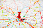 Reims,France  map — Stock Photo