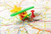 Toulouse , France  map airplane — Foto de Stock