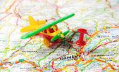 Geneve,Swiss map airplan — Stock Photo