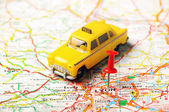 Lion , France  map taxi — Stock Photo