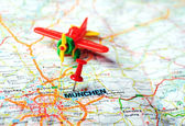 Munchen ,Germany map airplan — Foto Stock