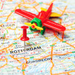 Rotterdam,Holland map airplane — Stock Photo #49406365