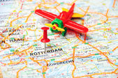 Rotterdam,Holland map airplane — Stock Photo