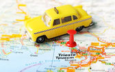 Trieste  Italy map taxi — Stock Photo