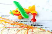 Bari  Italy map airplane — Stockfoto