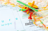 Livorno  Italy map airplane — Foto de Stock
