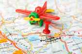 Perugia  Italy map airplane — Stock Photo
