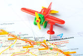 Ancona  Italy map airplane — ストック写真