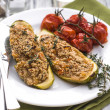 Stock Photo: Stuffed zucchini with amaranth and vegetables
