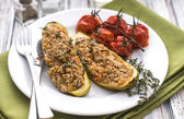 Stuffed zucchini with amaranth and vegetables — Stock Photo
