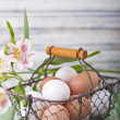 A basket full of eggs — Stock Photo