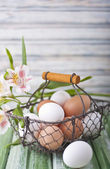 A basket full of eggs — Stockfoto