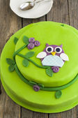 Owl cake — Stock Photo
