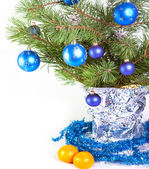 Branch with New Year balls — Stock Photo