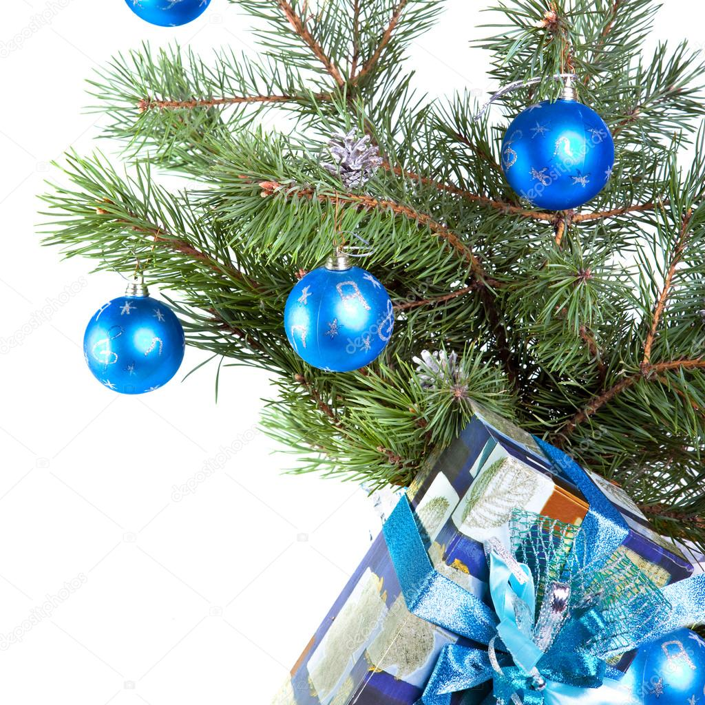 Branch with New Year's balls  — Stock Photo #12455445