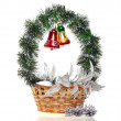 New Years decorative basket with glass balls — Stock Photo #12681433