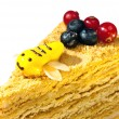 Stock Photo: Piece of honey cake decorated with bee from glaze