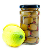 Healthy food - olive and lemons — Stock Photo