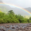 Stock Photo: Tahiti. Mountain river and rainbow