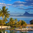 Stock Photo: Oceat sunset. Polynesia. Tahiti.