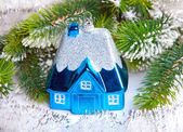 Toy small house - New Year's dream of own house — Stok fotoğraf