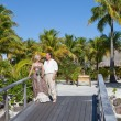 Loving couple on the wooden bridge on the tropical island — Stock Photo