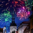 Festive fireworks over the Old city in Tallinn, Estonia. — Foto de Stock