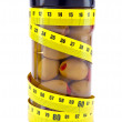 Olive  and measuring tape- healthy food — Stock Photo