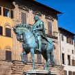 Stock Photo: Monument of Cosimo Medici (1519-74) Italy. Florence. PiazzdellSignoria.